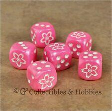 NEW Set 6 Sakura Cherry Blossom Dice Bunco RPG Board Game Pink Flower D6
