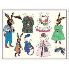 Shackman Mini Bunny Rabbit Family Paper Dolls And Clothes  #Shk-19