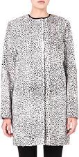 Max Mara Studio Ivory & Black Leopard Print Faux Fur Coat Retail