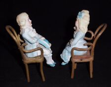 Vintage German Bisque Miniature Figurines Sitting In Bentwood Chairs - 4 1/2""