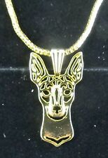 Mini Fox Terrier Profile Dog Pendant Necklace Fashion Jewellery -Gold Plated