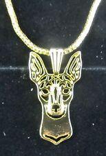Mini Fox Terrier Profile Dog Pendant Necklace Fashion Jewellery -Gold Plated