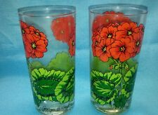 2-Vintage Georges Briard Signed Glasses Red Geraniums