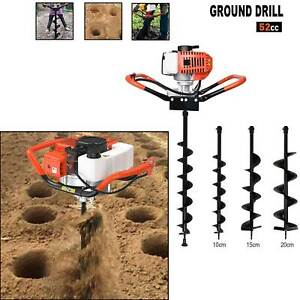 52CC Earth Auger 2-Stroke Gas Powered One Man Post Hole Digger Machine or 3 Bits