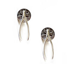 Wishbone Stud Earrings & Dust Cover $88 Auth New Tory Burch 925 Sterling Silver