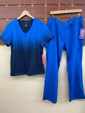 New listing New Royal Blue Print Scrub Set With Koi Large Top & Healing Hands Large Pant Nwt
