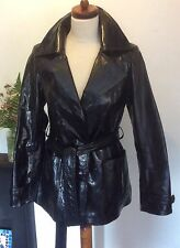 LADIES PATENT LEATHER JACKET SHORT TRENCH COAT BY CENTIGRADE BLACK SIZE S