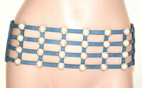CINTURA BLU AZZURRO PERLE donna stringivita bustino eco pelle elastico belt BB4