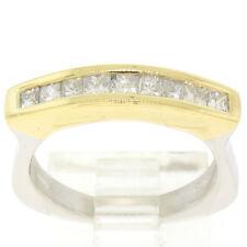Único Platino & 18ct Oro Amarillo 0.60ctw Juego Canal Diamante Talla Princesa