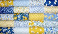20 Kaufman Sunshine Garden Yellow Blue Quilting fabric 5 inch squares #77
