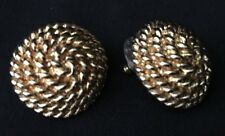 Vintage Monet Gold Tone Braided Woven Rope Earrings