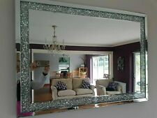 New Diamond Crush Jewel, Glass Crystals, Silver Wall Mirror 90x65cm Home Decor