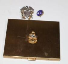 New listing Vintage Gold Tone Navy Cigarette Case And 2 Navy Pins