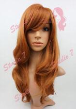 W86 Auburn Dark Ginger Long Wavy Realistic Skin Top Ladies Wig studio7-uk