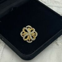 VINTAGE Small Sparkly Knot Brooch Gold Tone Collar Retro Dainty Cute Infinity