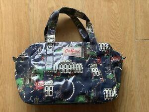 CATH KIDSTON Navy Blue London Themed Oilcloth Handbag, Excellent Condition
