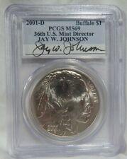 2001-S Buffalo $1 commem  PCGS MS69 Jay Johnson Signed Holder FREE s/h
