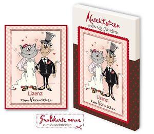Hochzeitskarte Lizenz zum Vernaschen mit 70gr Vollmilchschokolade Kunstgrußkarte