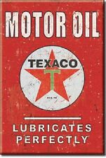 TEXACO MOTOR OIL T Lubricates Perfectly Vintage Tin Sign Magnet Made in USA