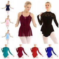 Adult Women Lace Long Sleeve Skate Dress Leotard Skirt Ballet Dance Wear Costume