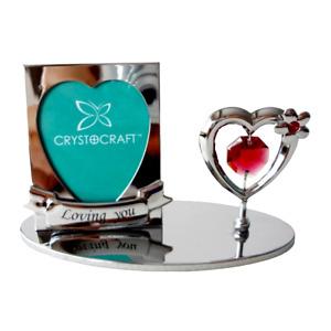 Crystocraft I Love You Photo Frame Heart Crystal Ornament Swarovski Elements