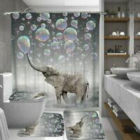 4pcs Blasen Elefant Wasserfest Badezimmer Duschvorhang Toilette Abdeckung Floo
