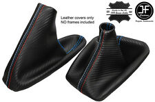 BLUE STITCH CARBON LOOK GEAR & HANDBRAKE GAITER FITS BMW E90 E91 E92 E93 M///