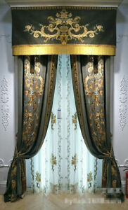 luxury palace embroidered velvet thick coffee cloth curtain valance drape C131