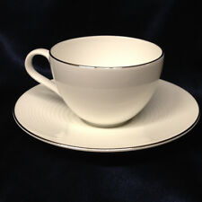 ROYAL DOULTON GORDON RAMSAY PLATINUM CUP & SAUCER 8 OZ WHITE EMBOSSED RINGS