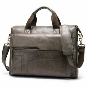 Men Office Briefcase Bags Genuine Leather Male Laptop Crossbody Shoulder Bags