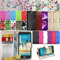 For LG K3 2017 - Wallet Leather Case Flip Book Stand Cover + Screen Protector