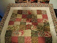 New listing Quilt Pattern Quilt Block Table Mat~ Wallhanging Multi Color Tans, Roses