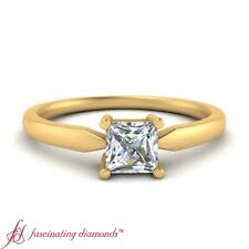 1/2 Carat Princess Cut Diamond Solitaire Tapered Engagement Ring In Yellow Gold