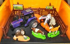 REALTOY GREEN COUNTRY FARM SET WITH DIECAST TRACTOR & HAND PAINTED  ANIMALS