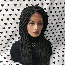 Fully Hand Braided Handmade Braid Wig Lace Front Wigs (box braid) color 1b Black