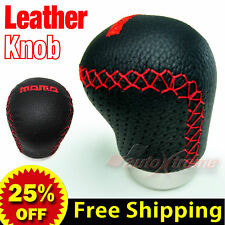 BLACK REAL Leather in RED Thread Manual Gear Shift Knob UNIVERSAL MT Shifter 70H