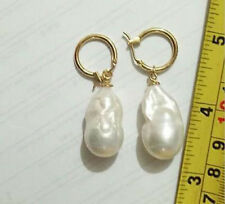 REAL HUGE SOUTH SEA WHITE BAROQUE PEARL Earrings JE255