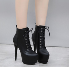 Womens Platform Ankle Boots Lace Up Nightclub High Heels Round Toe Stiletto Shoe