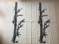 Vintage Hawaii Alfred Shaheen Fabric Piece Panel Bamboo Plant Black Printed