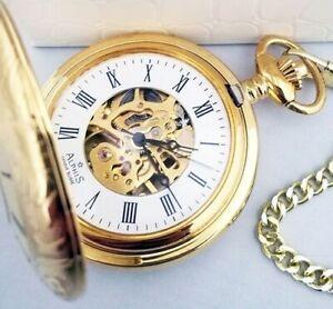 Alphis Swiss Watch Pocket Rope Mechanical Skeletal Gold Plated 18K