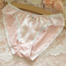 Sexy Ladies Pink Silk Underwear Lace Beads Bow Panties Mid-rise Brief Underpants
