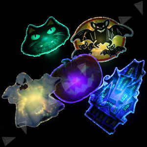5 x Halloween Light Up LED Pattern Magnet Wall Window Garden Party Hanging Decor