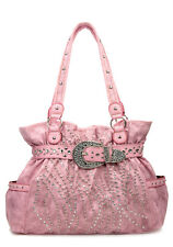 L Pink Western Rhinestone Celebrity  Leather-Like Studs  Buckle Handbag Purse NR