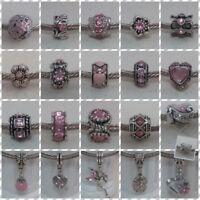 ~ Antique Silver Pink Enamel/Rhinestone Charms ~  FOR CHARM BRACELETS ~
