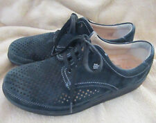 FINN COMFORT Black Suede Walking Oxford Perforated Lace Up Women's 7 (4.5 EU)