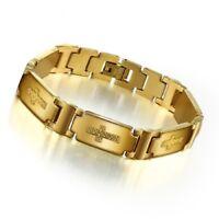 Herren Armband Edelstahl Kreuz Goldarmband Kette 18 Karat Gold Schmuck Geschenk