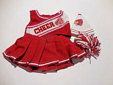 Build A Bear Girls 4Pc Red CheerLeader Outfit Top wBear Skirt, Pom & Mega