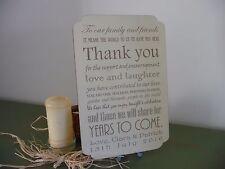 Personalised Wedding Segno GRAZIE in legno shabby PLACCA Venue Tavolo Decor