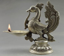 Decorated Old Handwork Tibet Silver Carved Phoenix Big Candle Stick