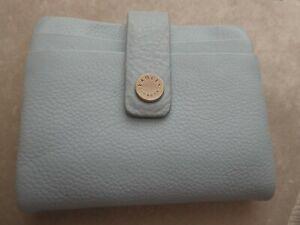 Radley leather card holder purse wallet - 10 slots - pale blue & cream